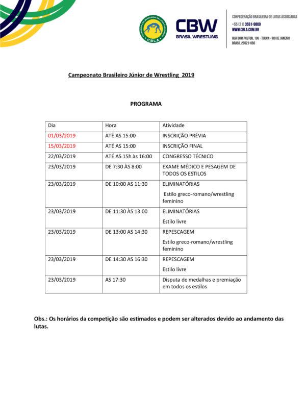 Convite Campeonato Brasileiro Júnior 2019-3