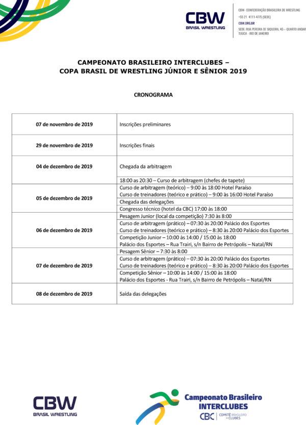 Convite - Copa Brasil de Wrestling Junior e Senior 2019