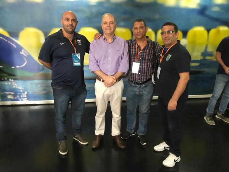 Flavio Cabral, o presidente do COB Paulo Wanderley, Angel Torres e Nisdany Perez