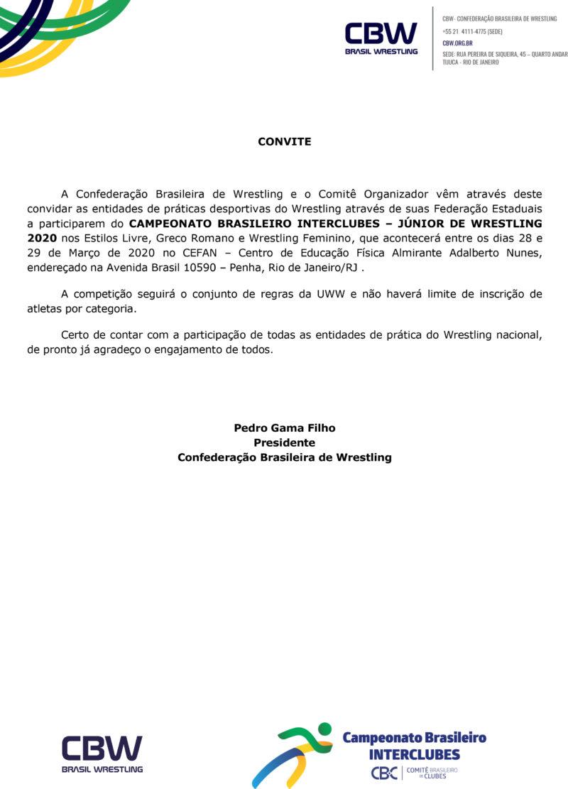 Convite - Brasil de Wrestling Junior 2020 CBI (1)