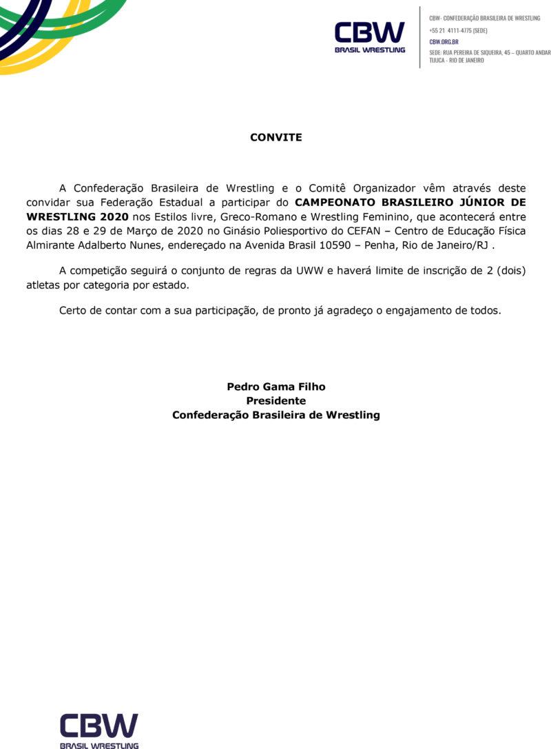 Convite - Campeonato Brasileiro de Wrestling Junior 2020-1