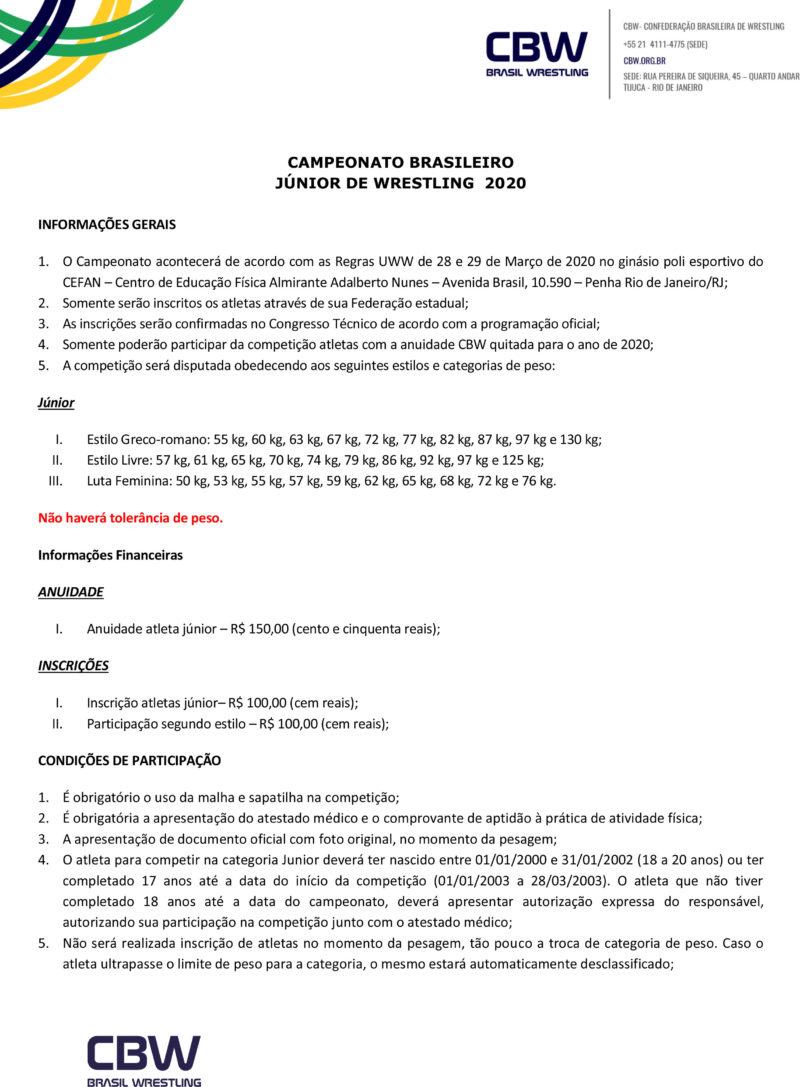 Convite - Campeonato Brasileiro de Wrestling Junior 2020-2