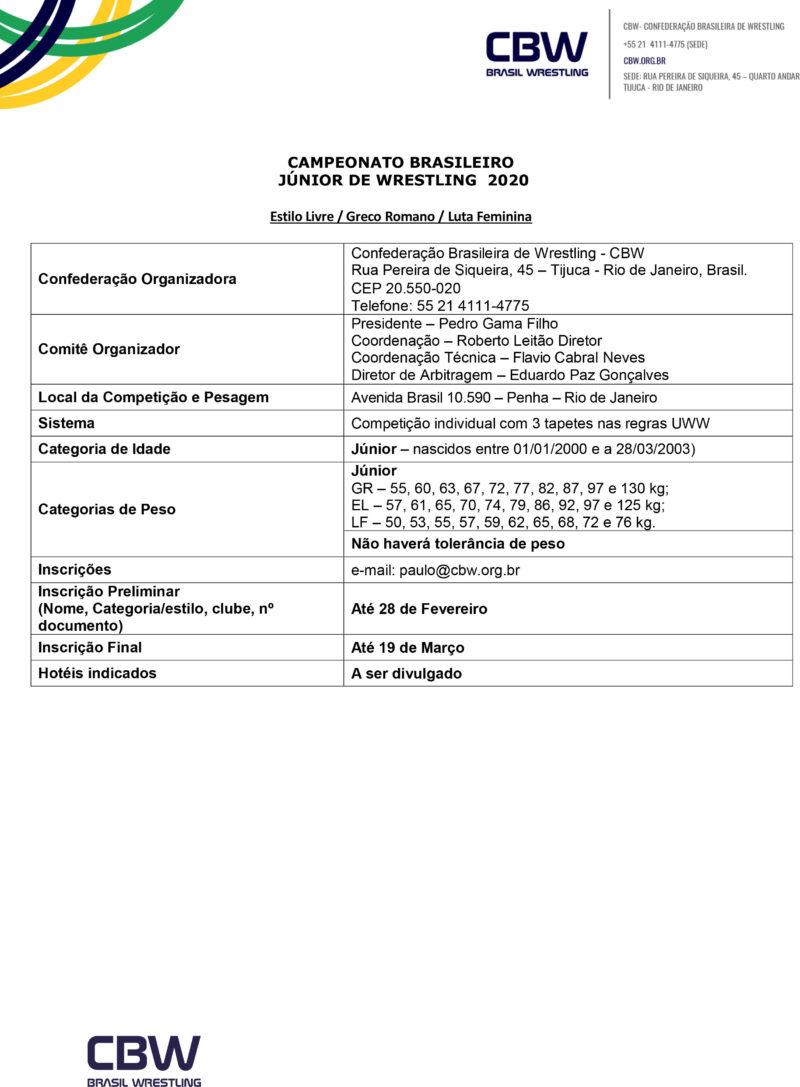 Convite - Campeonato Brasileiro de Wrestling Junior 2020-3