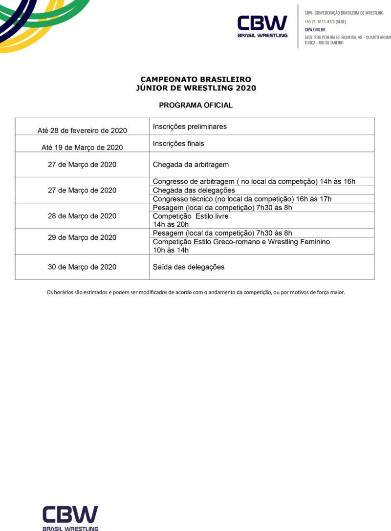 Convite - Campeonato Brasileiro de Wrestling Junior 2020-4